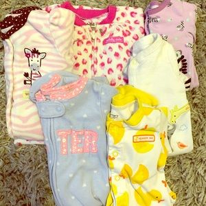 6 assorted footed bodysuits 3 month.